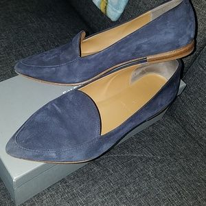 Navy blue suede loafers